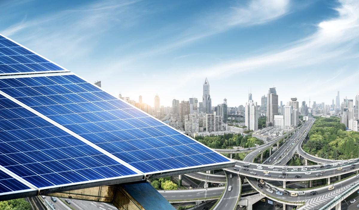 Urban background solar panels, Shanghai, China. Photo: iStock