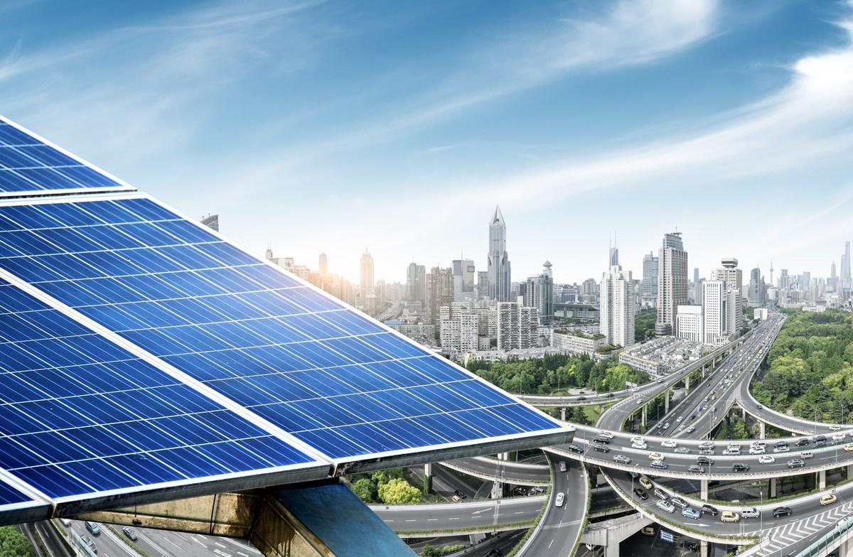 Urban background solar panels, Shanghai, China. Photo: iStock