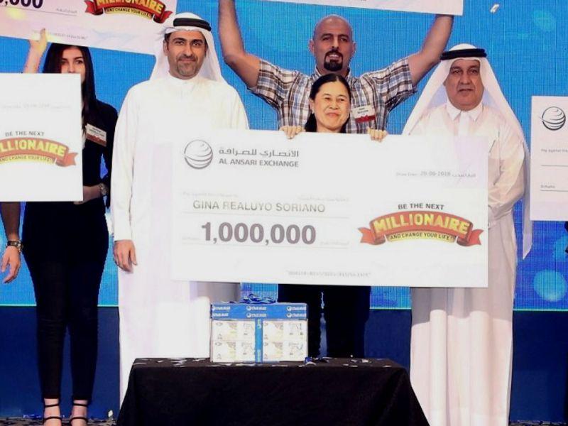 Filipino domestic worker in Dubai won one million dirhams (US$272, 294) in a raffle. Photo: Facebook/ Al Ansari Exchange