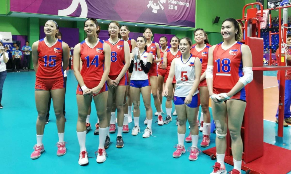 The Philippines women's volleyball team scored their first Asian Games victory in 36 years after beating Hong Kong in the preliminary round. Photo: Facebook/ Philippine Sports Commission