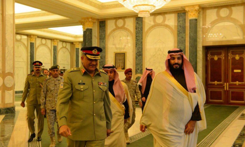 2016年12月,巴基斯坦參謀長巴傑瓦(Qamar Bajwa)與沙特王儲薩勒曼進行會談。相片:Courtesy Pakistan Army