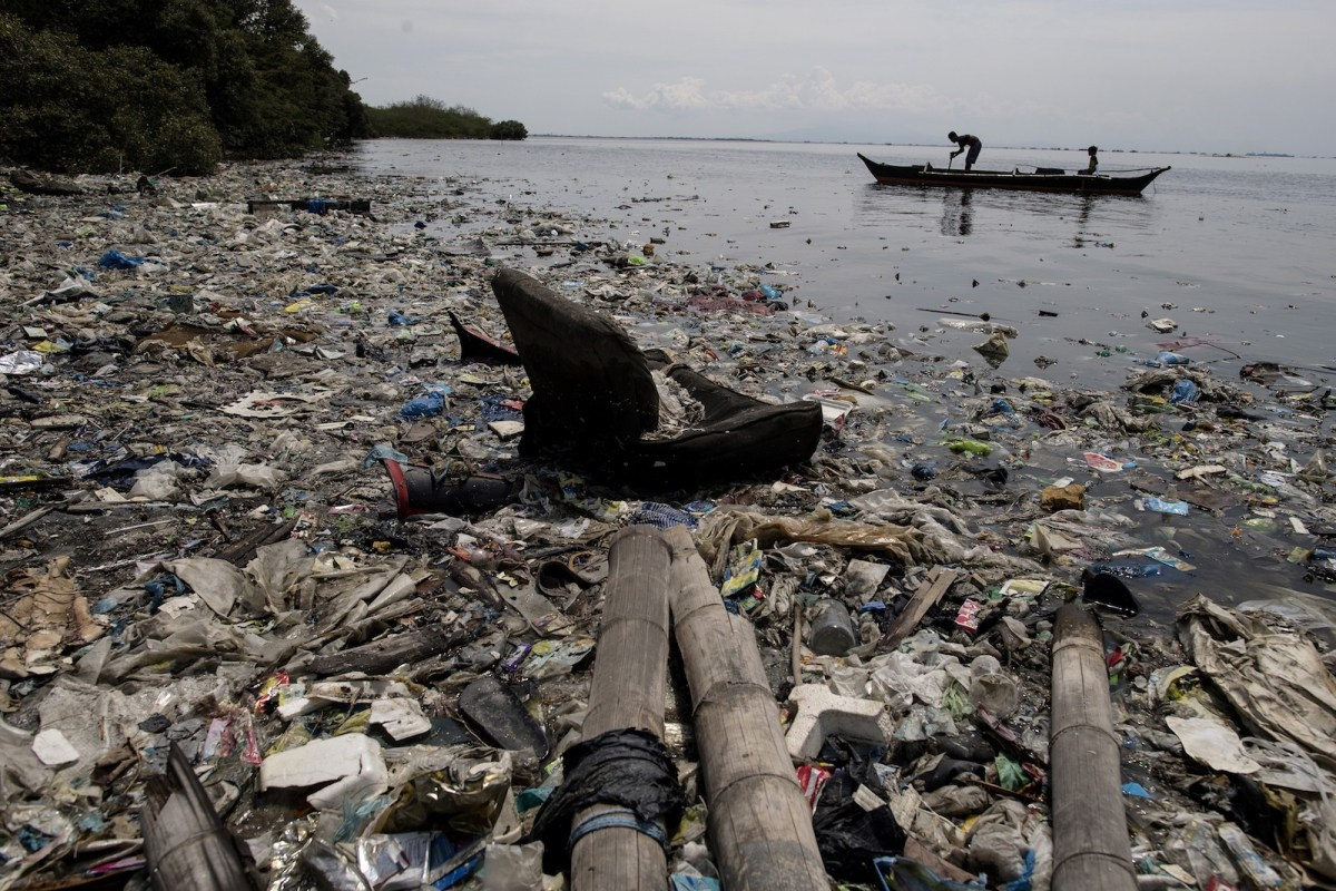 Plastic waste on the edge of a beach on the Freedom island critical habitat and ecotourism area near Manila. Photo: AFP/Noel Celis