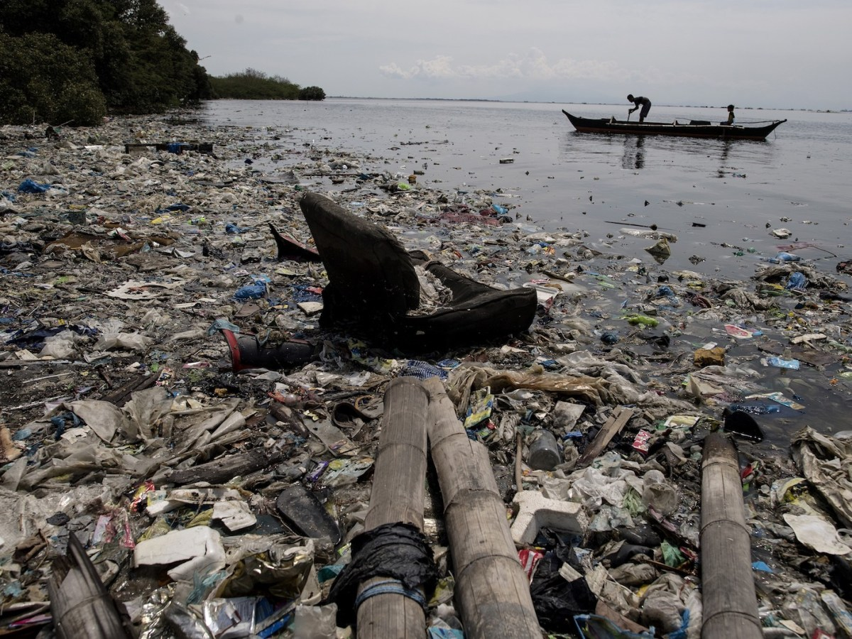 Plastic waste on the edge of a beach on the Freedom island critical habitat and ecotourism area near Manila. Photo: AFP/Noel Celis