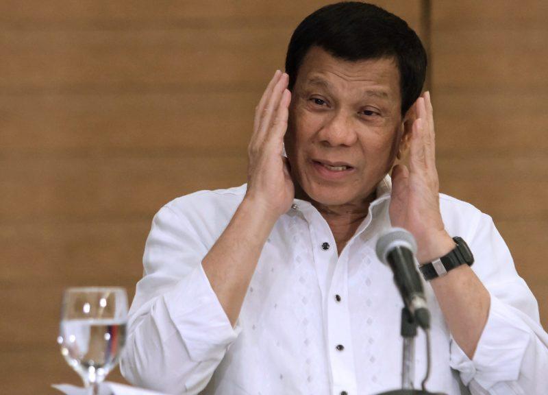 菲律賓總統杜特爾特於2018年2月9日在棉蘭老島南部達沃市(Davao City)舉行的新聞發布會上發表講話。相片:AFP