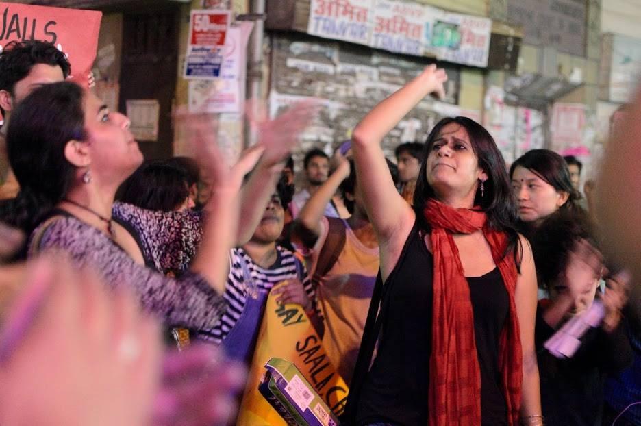 Pinjra Tod activists shout slogans at a protest gathering. Photo: Facebook