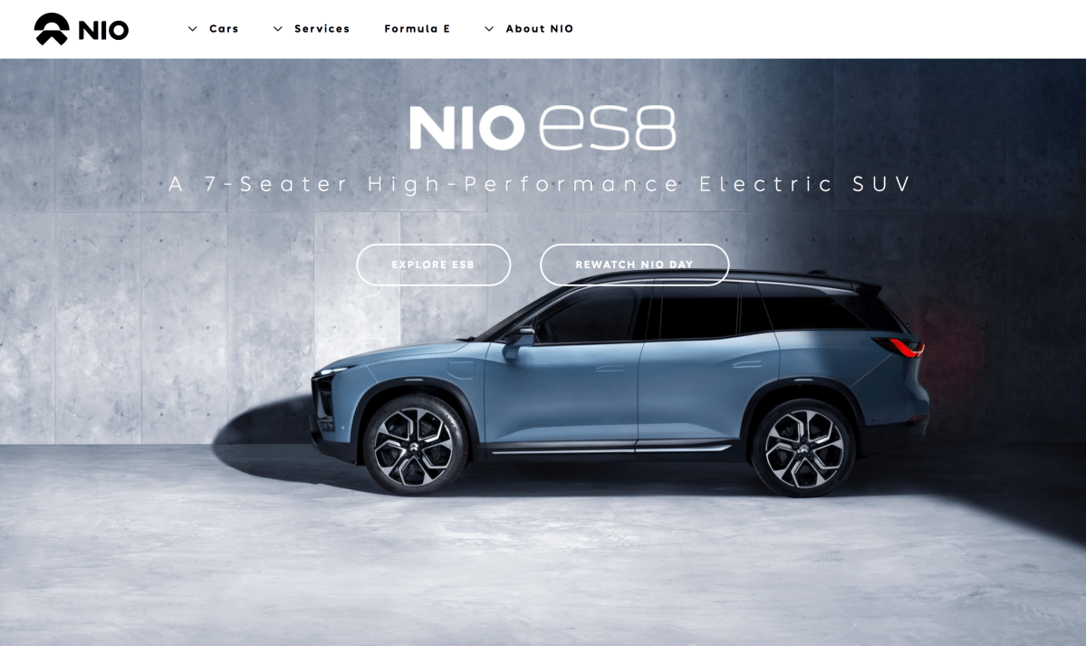 The homepage of NIO, a Chinese electric car maker startup.