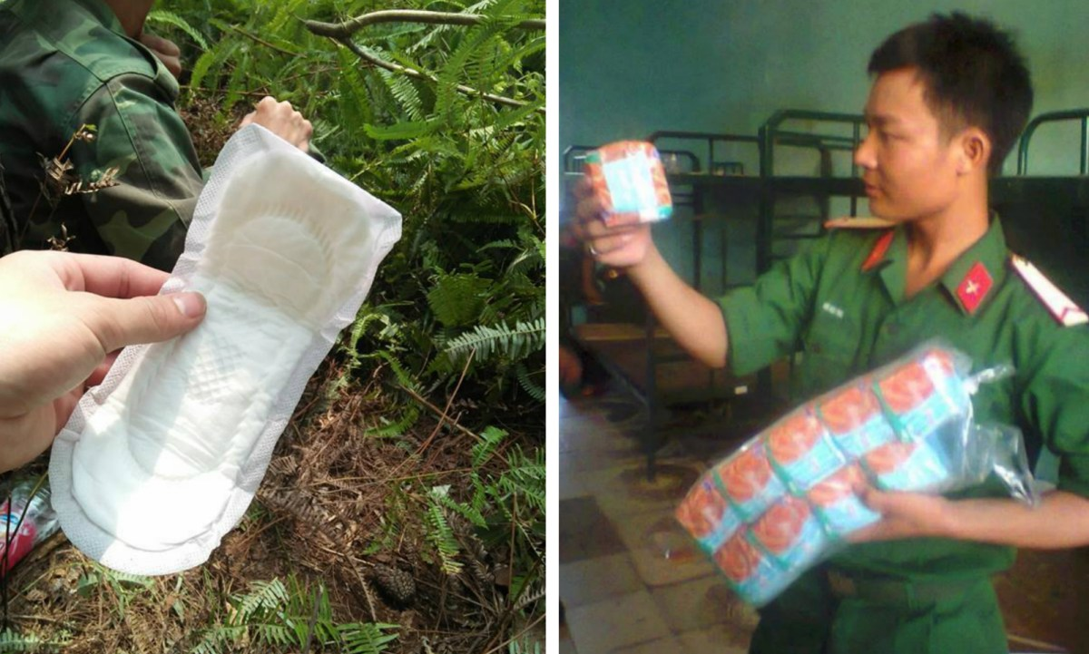 Vietnamese soldiers have found sanitary pads very useful. Photo courtesy of Yu Xuan Fan Group@Facebook.
