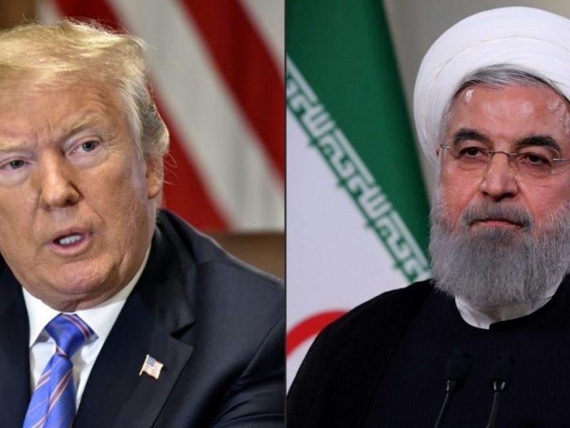 美國總統特朗普在2018年7月18日華盛頓的白宮內閣會議上發表講話(圖左)。在2018年5月2日的一張檔案照片中,伊朗總統魯哈尼在德黑蘭的伊朗電視台發表演講。相片:AFP and Iranian Presidency / Nicholas Kamm and Handout