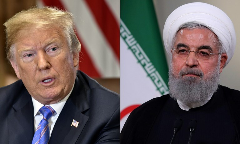 US President Donald Trump speaks during a cabinet meeting on July 18, 2018, at the White House in Washington, DC. In a file photo taken on May 2, 2018, a handout picture provided by the Iranian presidency shows President Hassan Rouhani giving a speech on Iranian TV in Tehran. Photo: AFP and Iranian Presidency / Nicholas Kamm and Handout