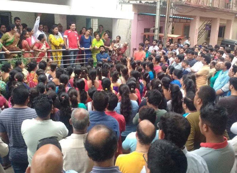 Protests against the arrest of alleged Hindutva terror suspect Vaibhav Raut. Photo: Courtesy Varsha Torgalkar