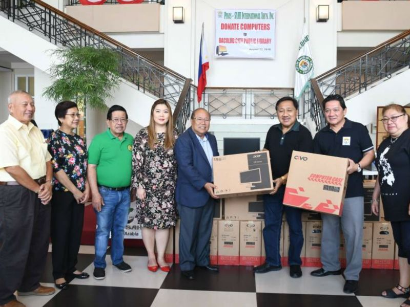 The Philippine-Saudi Arabia Hiligaynon donated 13 computers to the Bacolod Public Library to improve its digital literacy program. Photo: Facebook/ Bacolod City PIO