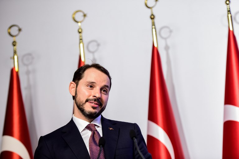 Turkish Treasury and Finance Minister Berat Albayrak speaks during a presentation to announce his economic policy in Istanbul. Photo: AFP