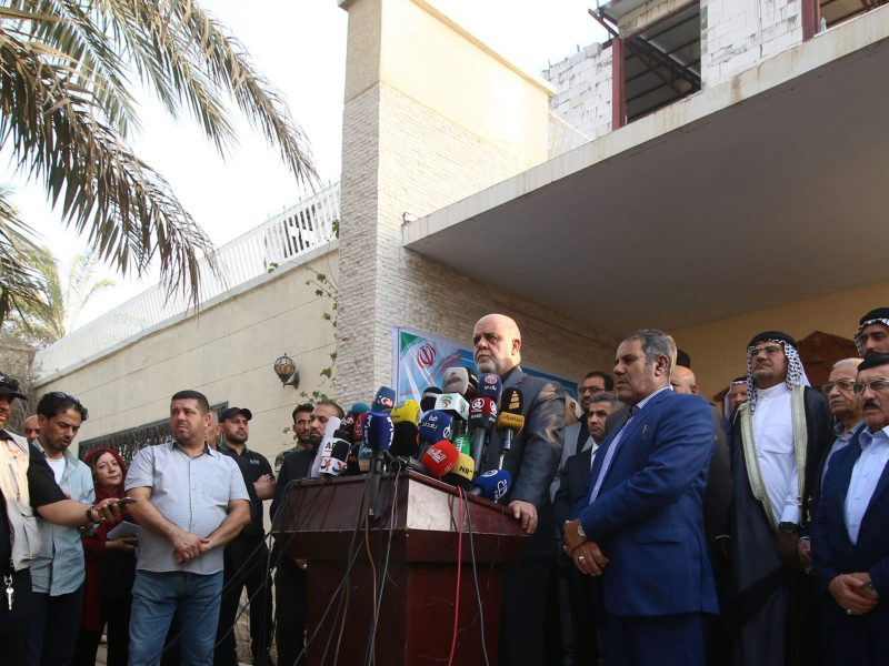 Iranian ambassador in Iraq Iraj Masjedi gives a press conference outside the new Iranian consulate in Basra on September 11, 2018, after the old building was set ablaze by protesters a few days earlier. Photo: AFP/Haidar Mohammed Ali