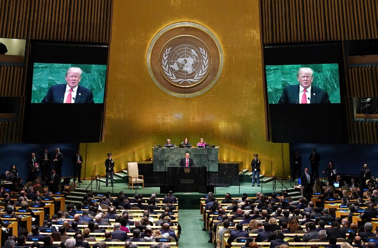 US President Donald Trump speaks during 73rd session of the UN General Assembly. Photo: AFP/Timothy Clark