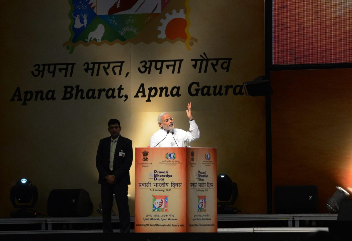 Indian Prime Minister Narendra Modi speaks during the second day of the three-day Pravasi Bhartiya Divas summit at the Mahatma Mandir in Gandhinagar, some 30 kilometers from Ahmedabad, on January 8, 2015. Photo: AFP