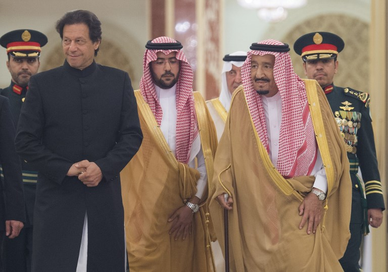 Pakistani Prime Minister Imran Khan meets the king of Saudi Arabia, Salman bin Abdulaziz Al Saud, at Al-Salam Royal Palace in Jeddah on September 19, 2018. Photo: AFP via Anadolu Agency