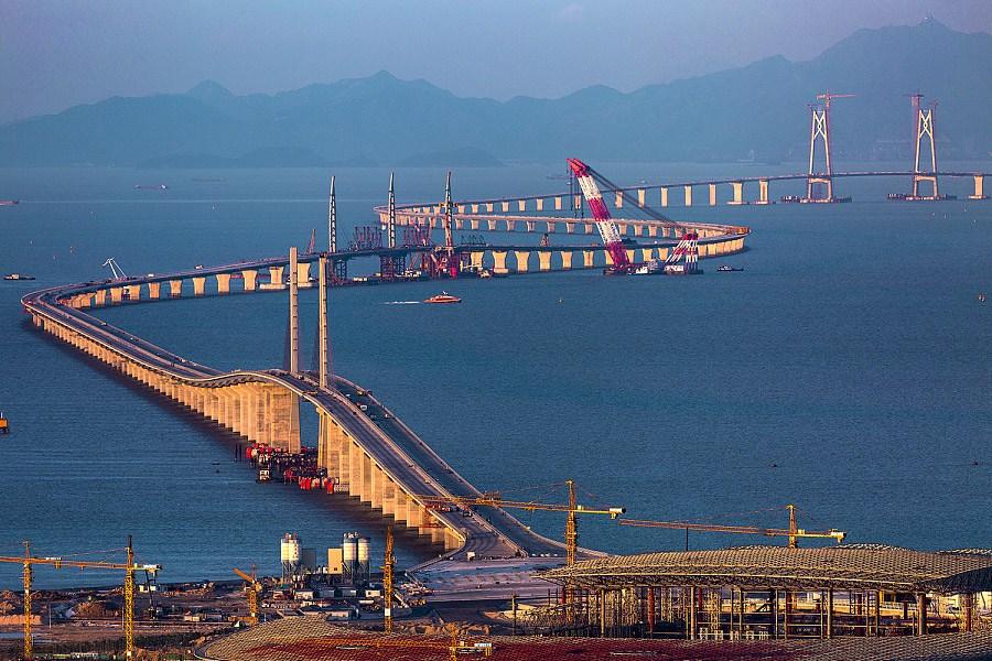 A file photo of the Hong Kong-Zhuhai-Macau Bridge during its construction. Photo: Xinhua