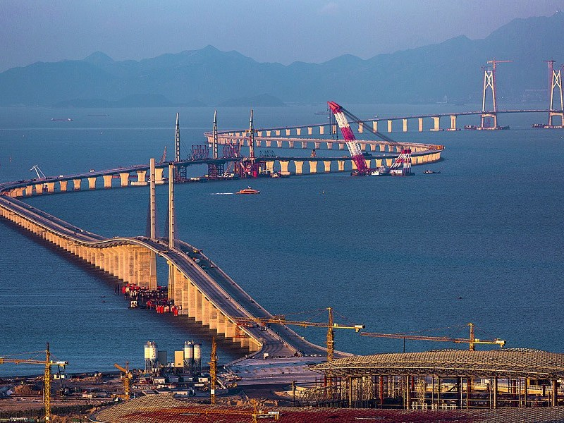 A file photo of the Hong Kong-Zhuhai-Macau Bridge during its construction. Photo: Xinhua