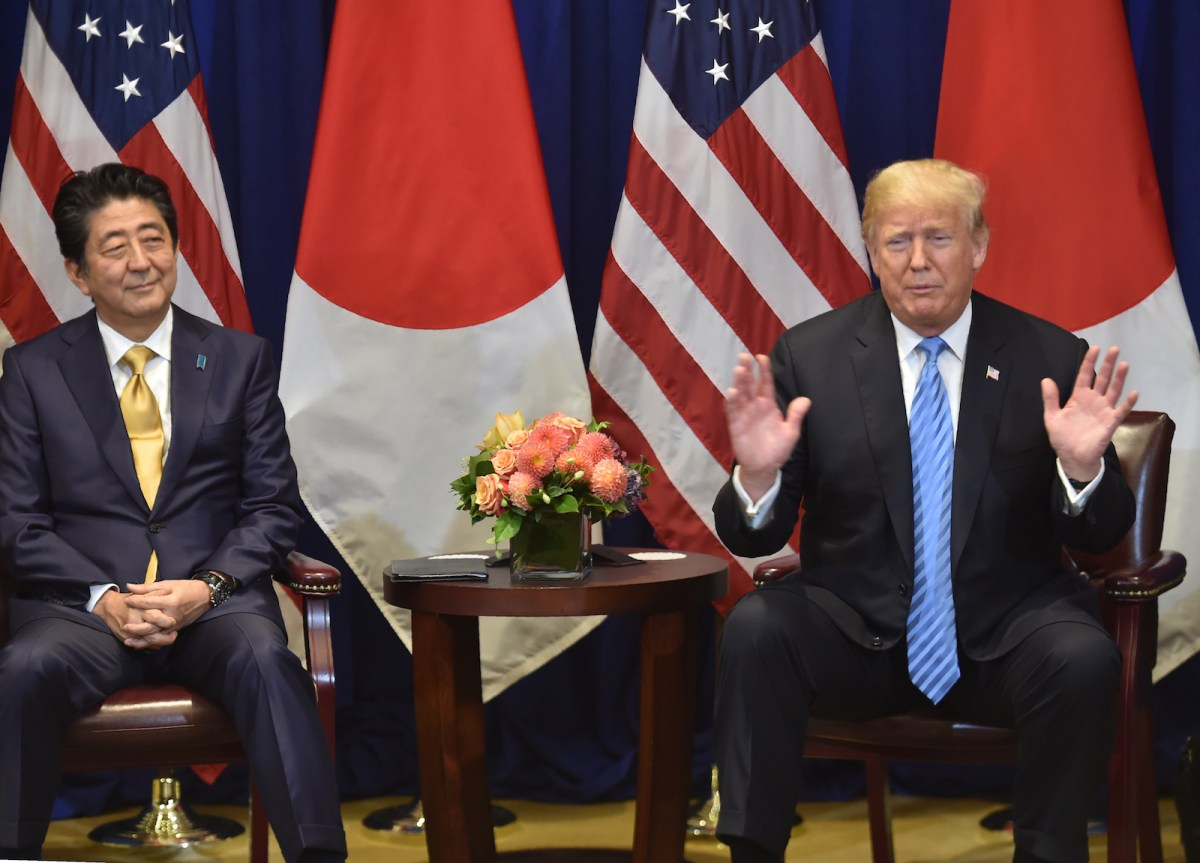 US President Donald Trump with Japanese Prime Minister Shinzo Abe on September 26, 2018, on the sidelines of the United Nations General Assembly in New York. Photo: AFP/ Nicholas Kamm