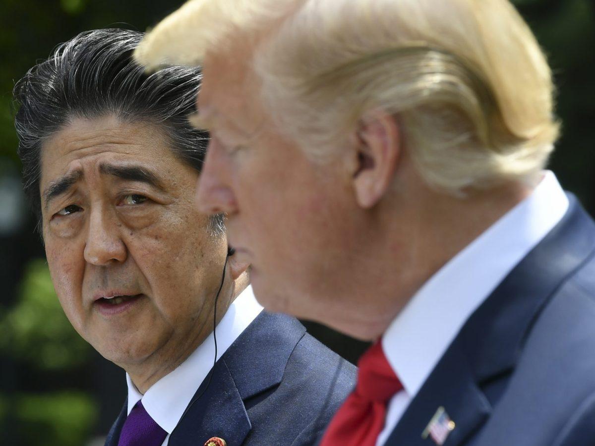 Japan's Prime Minister Shinzo Abe with US President Donald Trump. Photo: AFP/Mandel Ngan