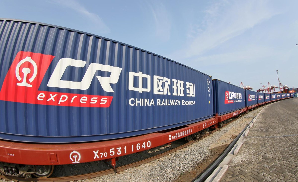 A China Railway Express train running from Weihai, China, to Duisburg, Germany in 2017. Freight trains have made more than 9,000 trips since the line opened in 2017. Photo: AFP/Imagine China