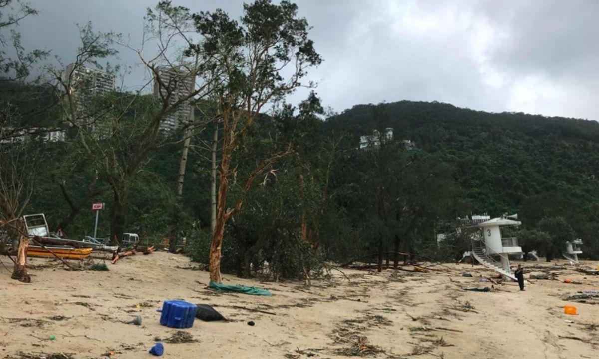 Deep Water Bay on Hong Kong Island after Typhoon Mangkhut. Photo: Facebook/Lifeguards Union