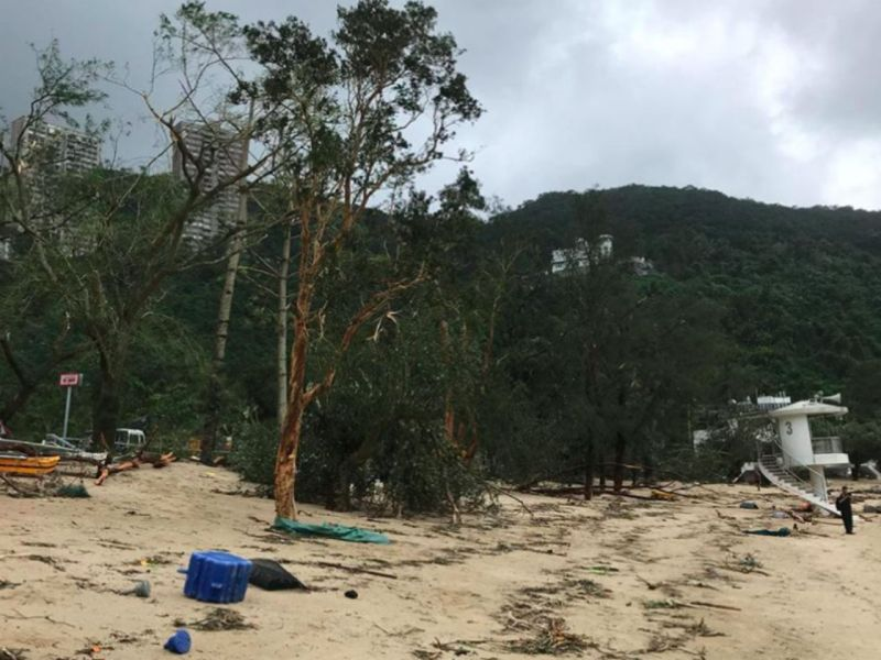 Deep Water Bay on Hong Kong Island after Typhoon Mangkhut. Photo: Facebook/Lifeguards Union