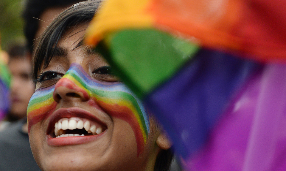 A supporter of India's lesbian, gay, bisexual and transgender community takes part in a pride parade in Chennai. Photo: AFP