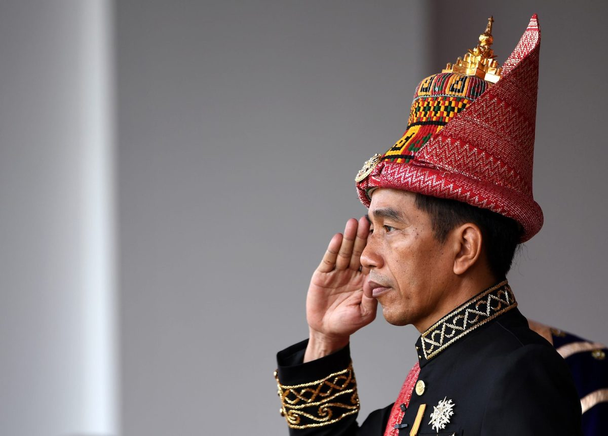 Indonesia's President Joko Widodo salutes during the country's 73rd Independence Day celebrations at the presidential palace in Jakarta on August 17, 2018.Photo: AFP/Sonny Tumbelaka