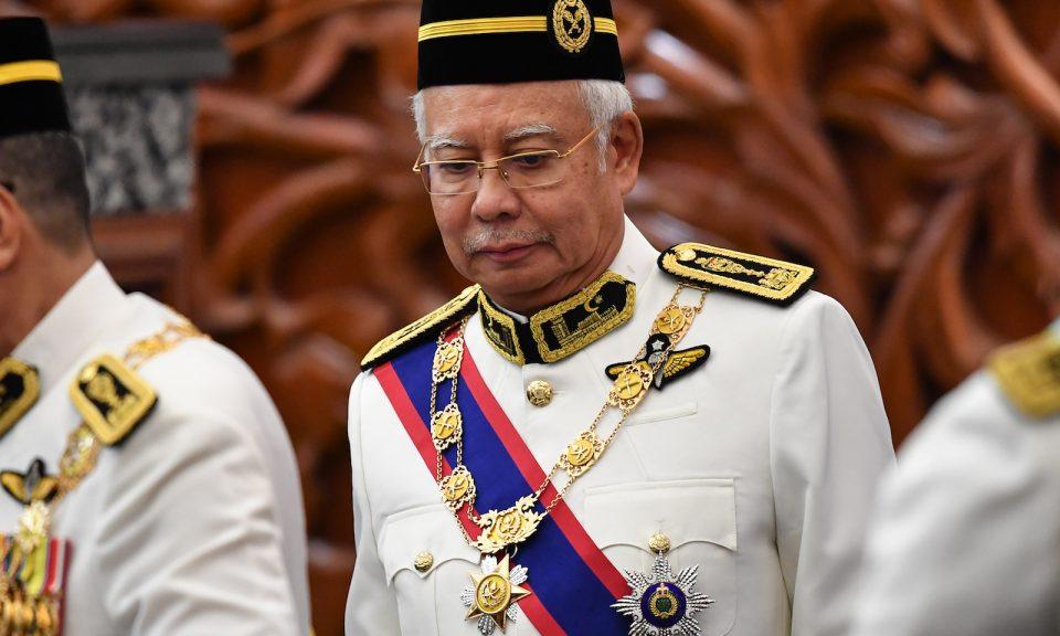 馬來西亞前總理納吉布於2018年7月17日出席在吉隆坡舉行新政府首次議會開幕儀式。相片:AFP / Mohd Rasfan