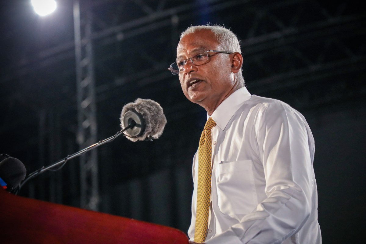 Maldives' main opposition leader and presidential candidate Ibrahim Mohamed Solih addresses a crowd during a campaign rally in the Maldives capital Male, ahead of presidential elections. Photo: AFP