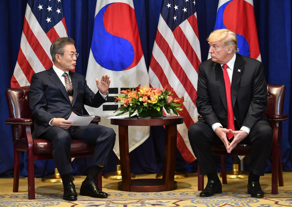 US President Donald Trump and South Korean President Moon Jae-in during a meeting in New York on September 24, 2018, a day before the start of the General Debate of the 73rd session of the General Assembly. Photo: AFP/Nicholas Kamm