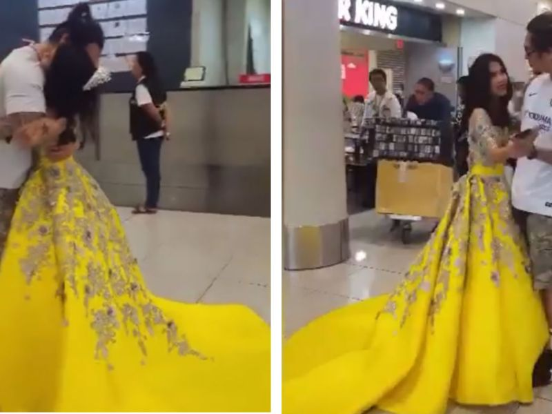A Filipino worker from Kuwait and his daughter dance in Ninoy Aquino International Airport after the father missed his daughter's coming-of-age celebration. Photo: Facebook