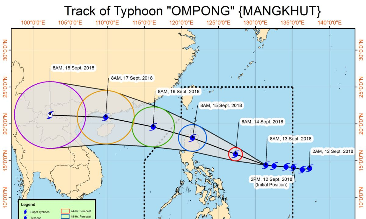 Typhoon Ompong (internationally called Mangkhut) entered the Philippine Area of Responsibility on Wednesday afternoon. Photo: Philippine Atmospheric, Geophysical and Astronomical Services Administration (PAGASA)