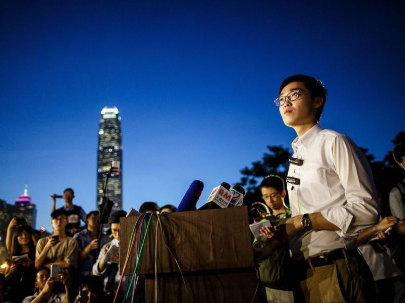 Hong Kong National Party  convener Andy Chan taking questions from the media during a pro-independence rally in the city's Central district. Photo: AFP