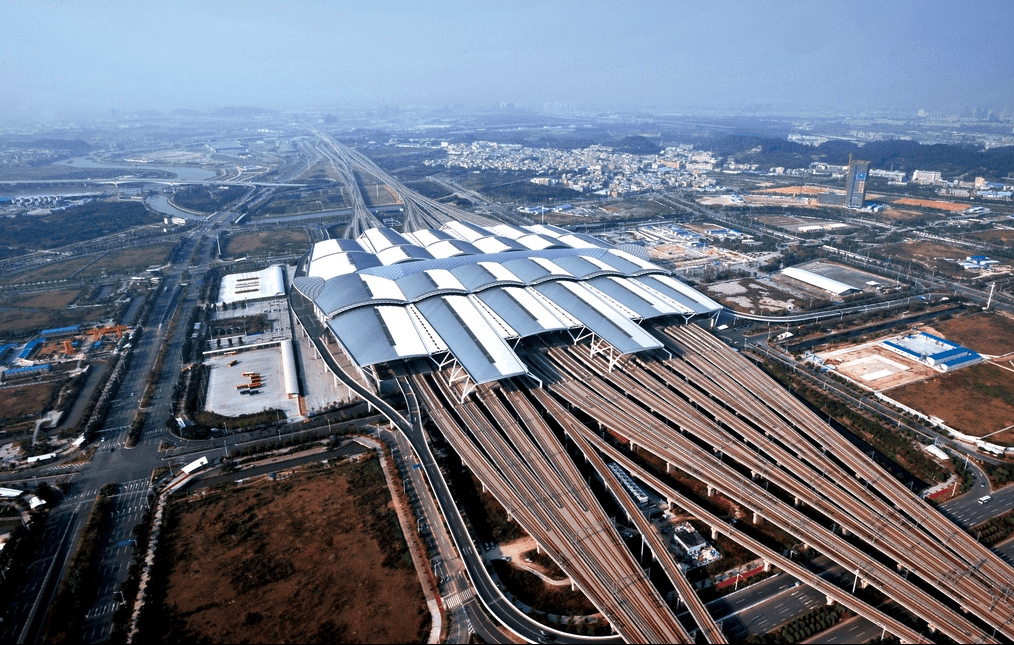 An aerial view of the Guangzhou South Station, one of China's largest high-speed-railway stations. Photo: Xinhua