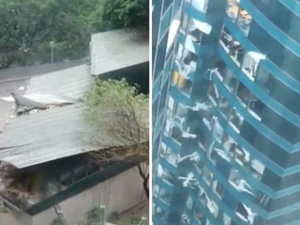 Buildings are damaged by strong winds as Mangkhut hits Hong Kong on Sunday. Photo: Facebook