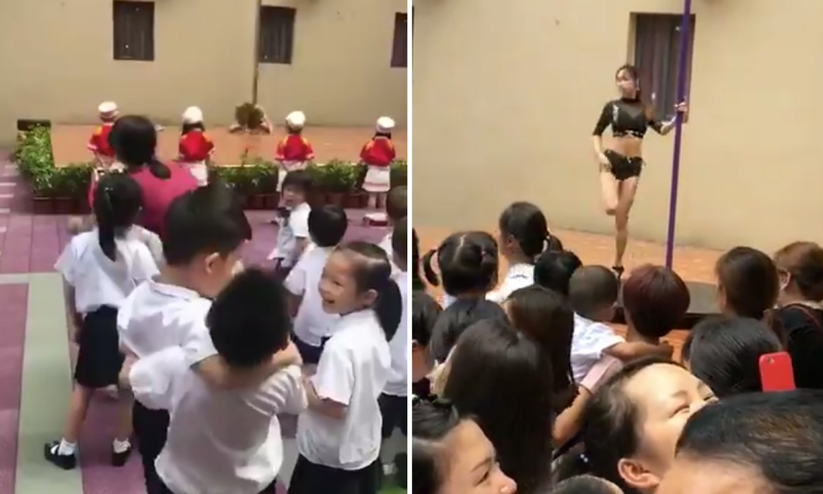 Parents were shocked by a pole dancing show at a kindergarten in Shenzhen. Photo: Michael Standaert/Twitter