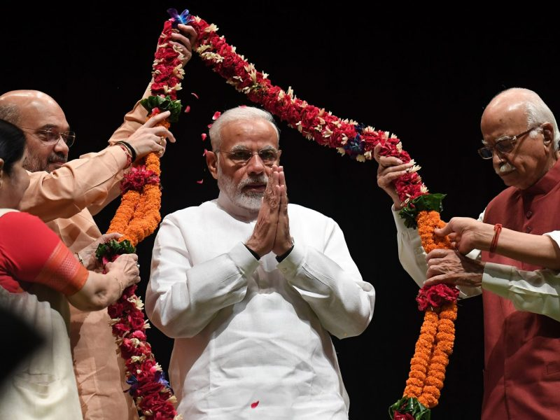 Prime Minister Narendra Modi (center). Photo: Prakash SINGH / AFP