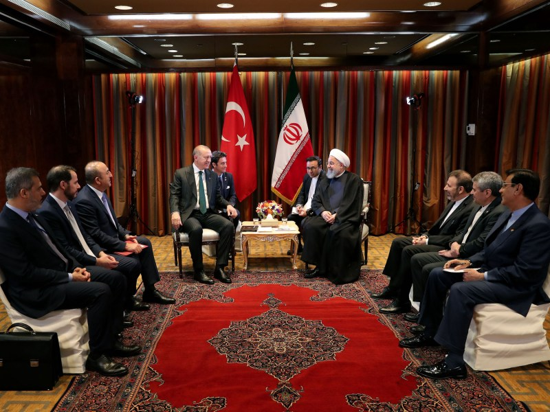 Turkish President Recep Tayyip Erdogan, left, meets with Iranian President Hassan Rouhani, right, ahead of the UN General Assembly in New York on Sept 24, 2018. Photo: AFP / Turkish President's Office / Cem Oksuz