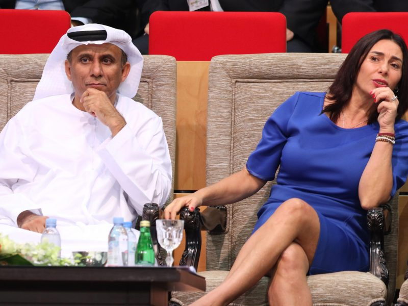 Israeli Culture and Sport Minister Miri Regev (R) Mohamed Bin Thaaloob al-Derai, President of UAE Wrestling Judo & Kickboxing Federation are seen during the Abu Dhabi Grand Slam Judo tournament in Abu Dhabi on October 27, 2018.   Photo: AFP