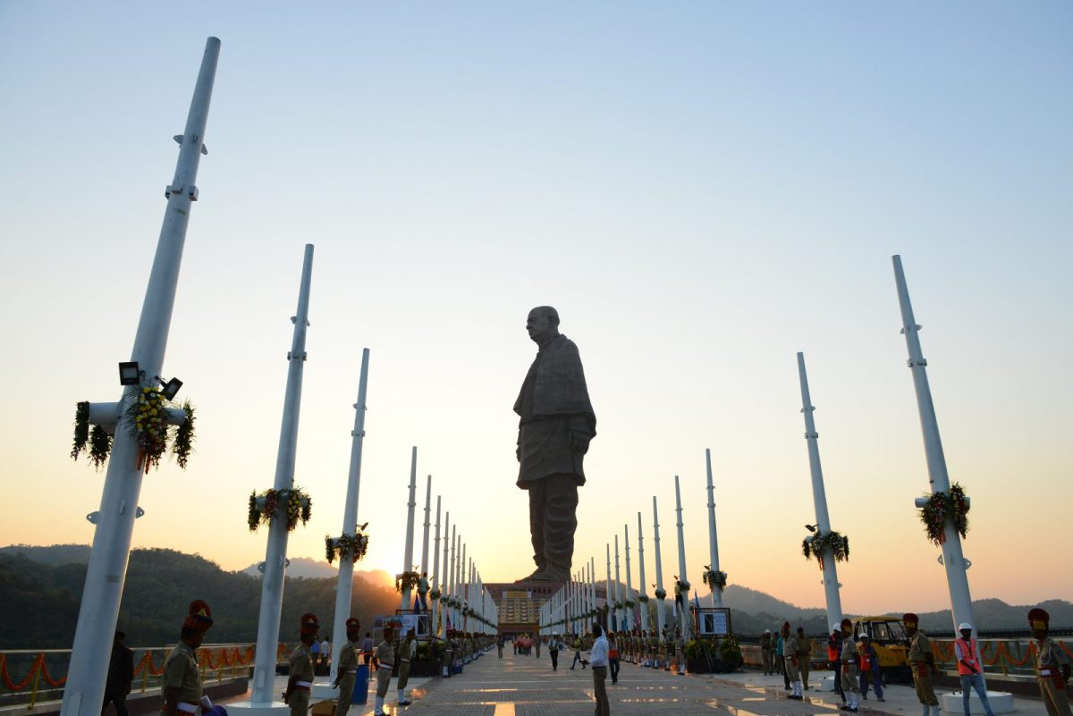 Police stand guard near the 'Statue Of Unity', by the Sardar Sarovar Dam  in India's western Gujarat state prior to the inauguration of the world's biggest statue on Wednesday. Photo: Sam Panthaky / AFP