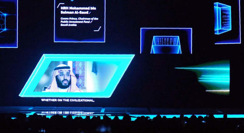 Crown Prince Mohammed bin Salman  at the 2017 Future Investment Initiative  conference in Riyadh. Photo: AFP