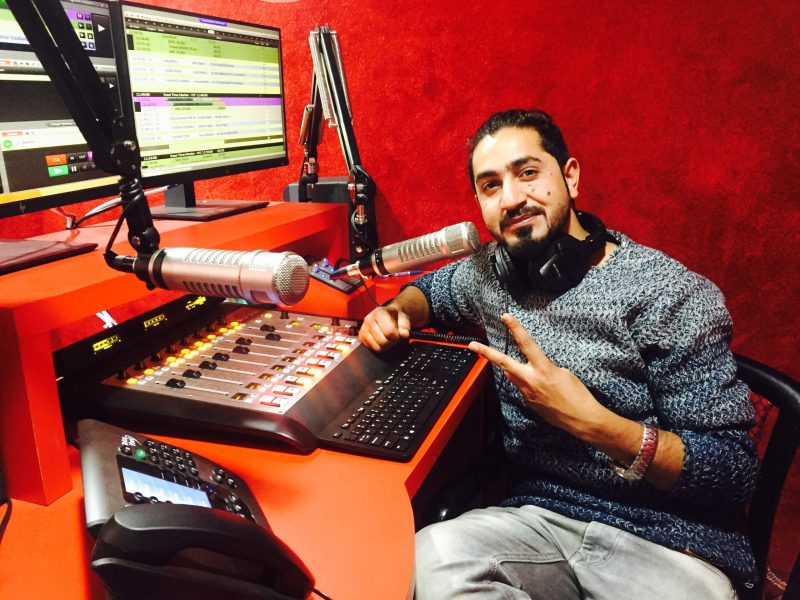 Kashmir radio host Mohammad Rafiq Pir at Red FM. Photo: Majid Hyderi