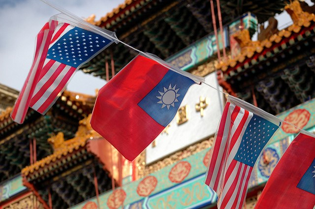 Taiwanese and US flags during a rally in Taipei. Photo: Twitter