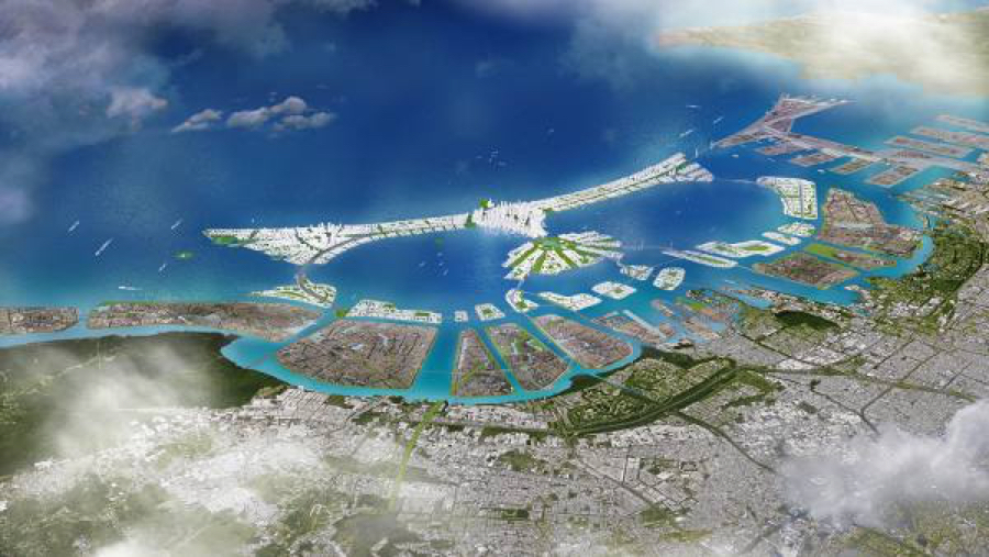 An image of the 17 artificial islands that were part of the Jakarta Bay reclamation project. Image courtesy of the University of Indonesia's School of Social and Political Studies.