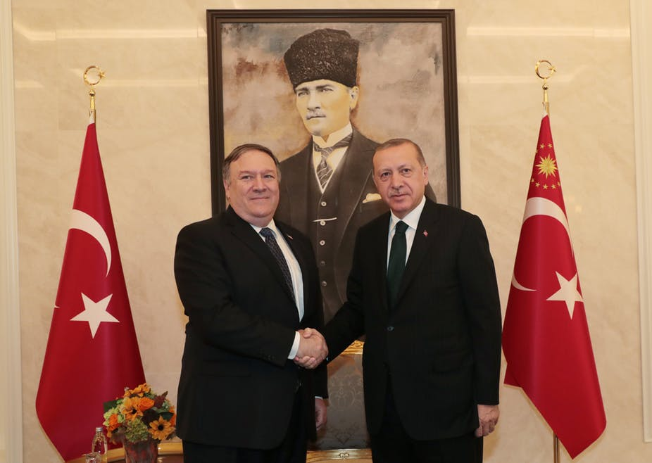 US Secretary of State Mike Pompeo met Turkish President Recep Tayyip Erdoğan in Ankara on October 17. Photo: Turkish Presidential Press Office