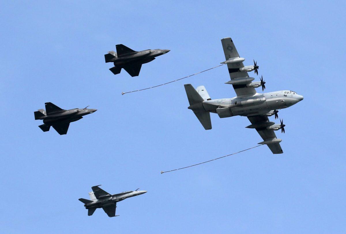 US aircraft refuel during a friendship event at Iwakuni Air Base in Iwakuni City, Japan, on May 5, 2018. Photo: AFP/The Yomiuri Shimbun