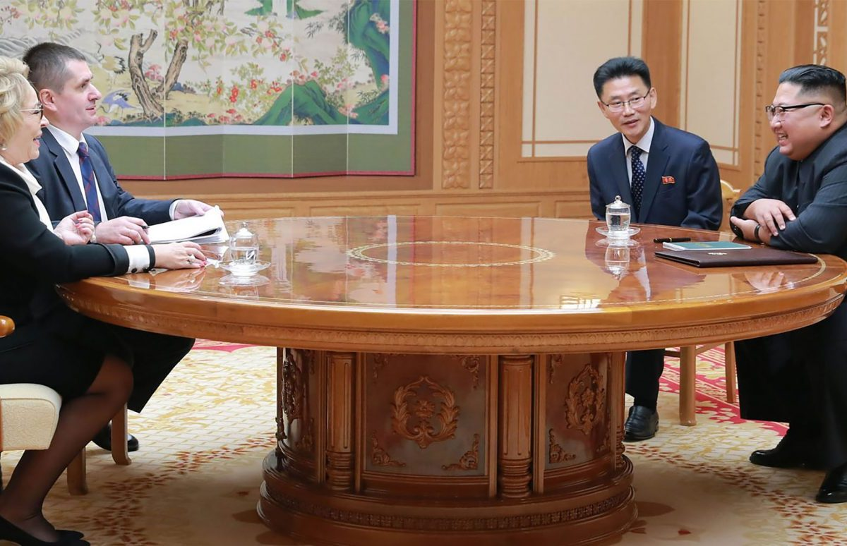 North Korean leader Kim Jong Un (right) meeting Valentina Ivanovna Matvienko (left), chairwoman of the Russian Federation Council, at the office building of the WPK Central Committee in Pyongyang on September 8, 2018. Photo: AFP/STR/KCNA Via KNS