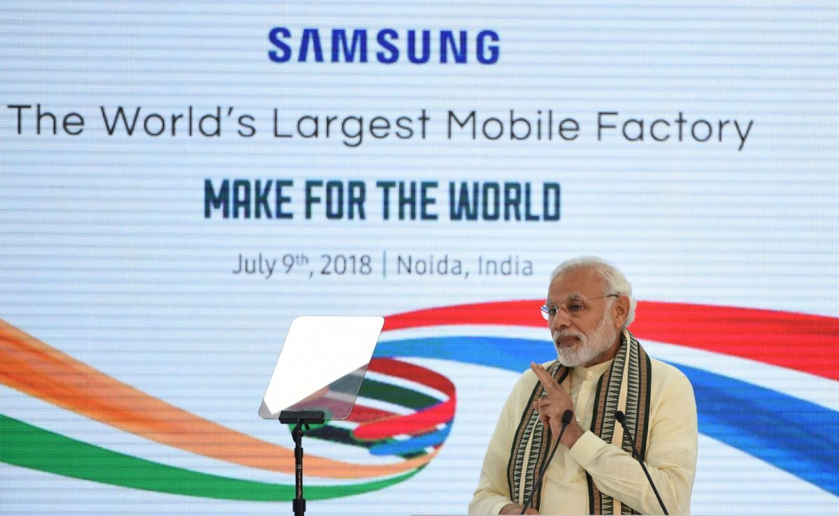 Indian Prime Minister Narendra Modi at the inauguration of the world's largest smartphone factory, an extension of an existing Samsung India facility, in Noida on July 9, 2018. Photo: AFP/Money Sharma